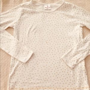 New Hanna Andersson Gold Sparkle Dots PJ Top 12